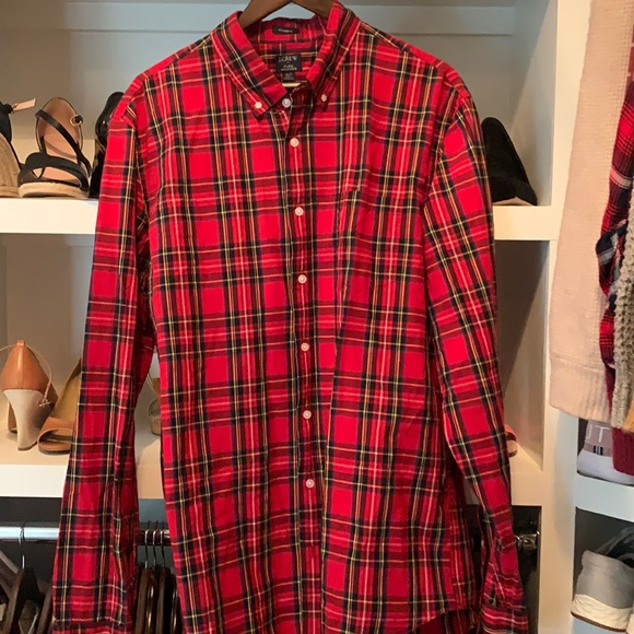 J. Crew Red Plaid Long sleeved button down XLT